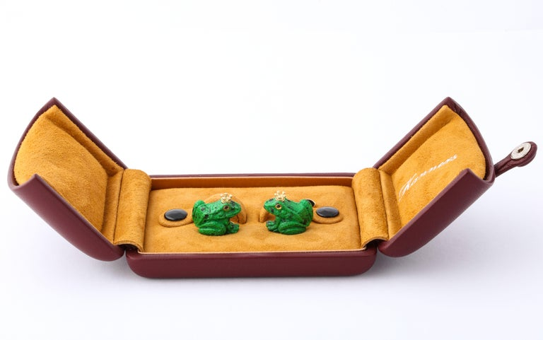 Women's or Men's Father's Day Crowned Frog Cufflinks by Michael Kanners For Sale