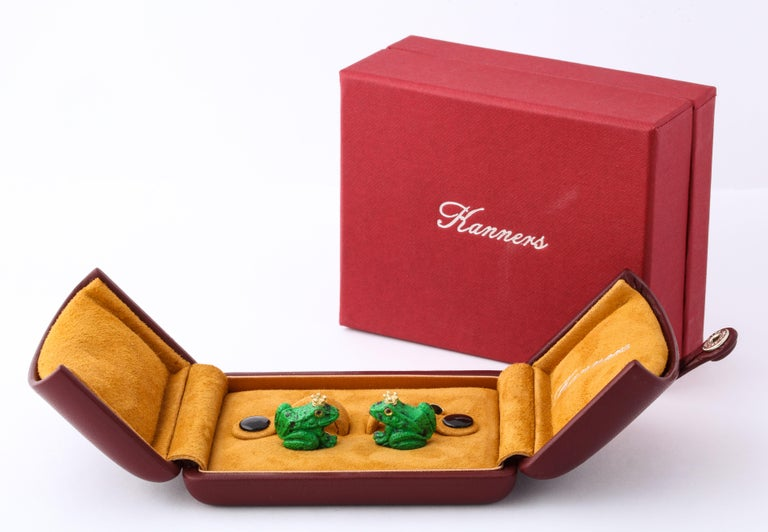 Father's Day Crowned Frog Cufflinks by Michael Kanners For Sale 1