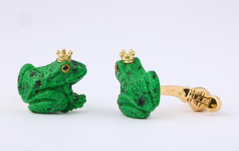 Father's Day Crowned Frog Cufflinks by Michael Kanners For Sale 2