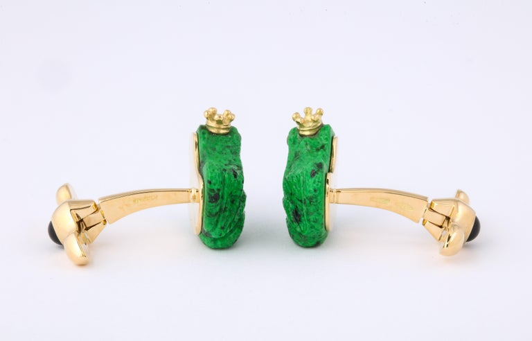 Father's Day Crowned Frog Cufflinks by Michael Kanners For Sale 3