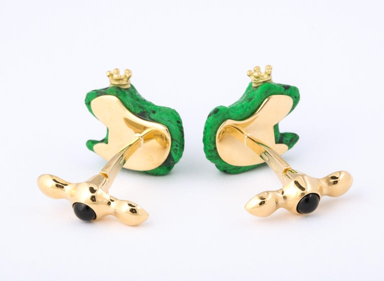 Father's Day Crowned Frog Cufflinks by Michael Kanners For Sale 4