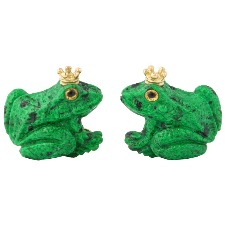 Father's Day Crowned Frog Cufflinks by Michael Kanners For Sale