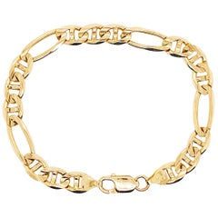 Father's Day Heavy Figaro Gold Chain Bracelet in 14 Karat Yellow Gold