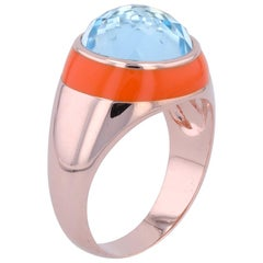 Fathom Enamel Ring with Sky Blue Topaz in Rose Gold