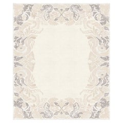 Faunus Orchard Gray, Floral Luxury Hand Knotted Wool Silk Rug