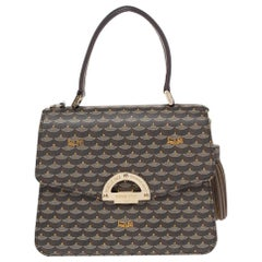 Faure Le Page Brown/Black Coated Canvas and Leather Parade Top Handle Bag