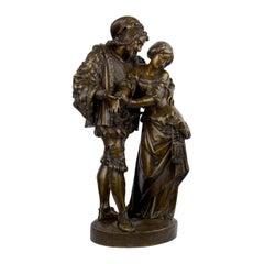 Faust Et Marguerite Antique French Bronze Sculpture by Deniére, circa 1860s