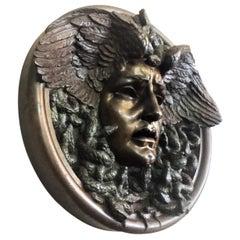 Fausta Mengarini, Medusa, Art Deco Bronze Bas-Relief Medallion, circa 1920