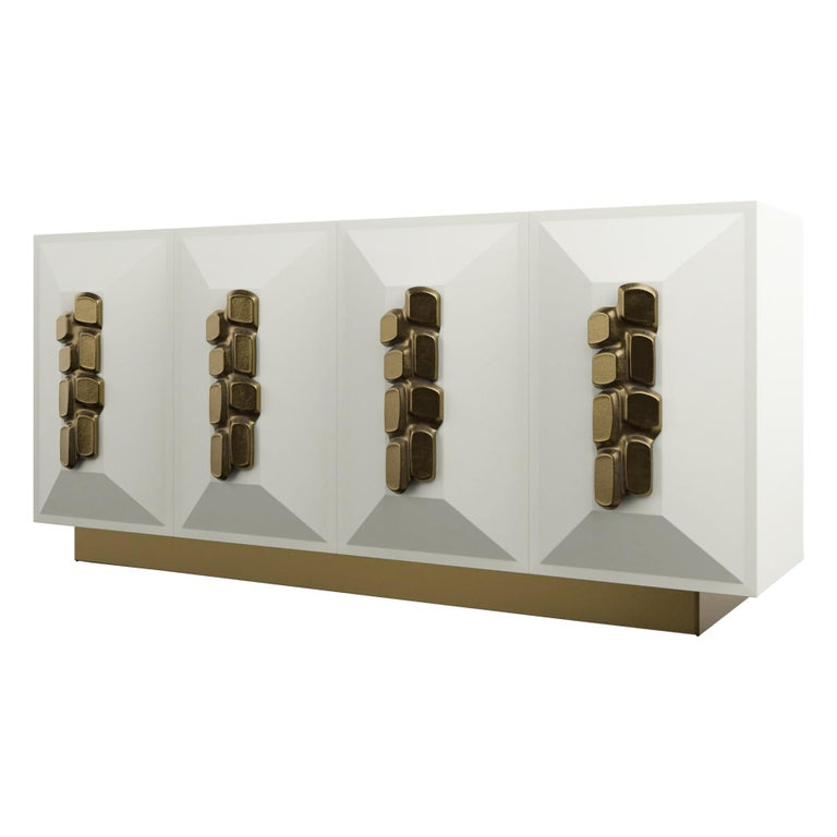 FAUSTINE CRDENZA - Modern cream lacquer with bronze handles