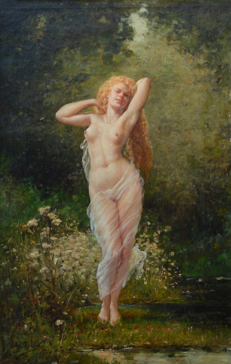 Barbizon painting of Nude Fausto Giusto Nom de guerre for Eugene Galien-Laloue - Impressionist Painting by Fausto Giusto