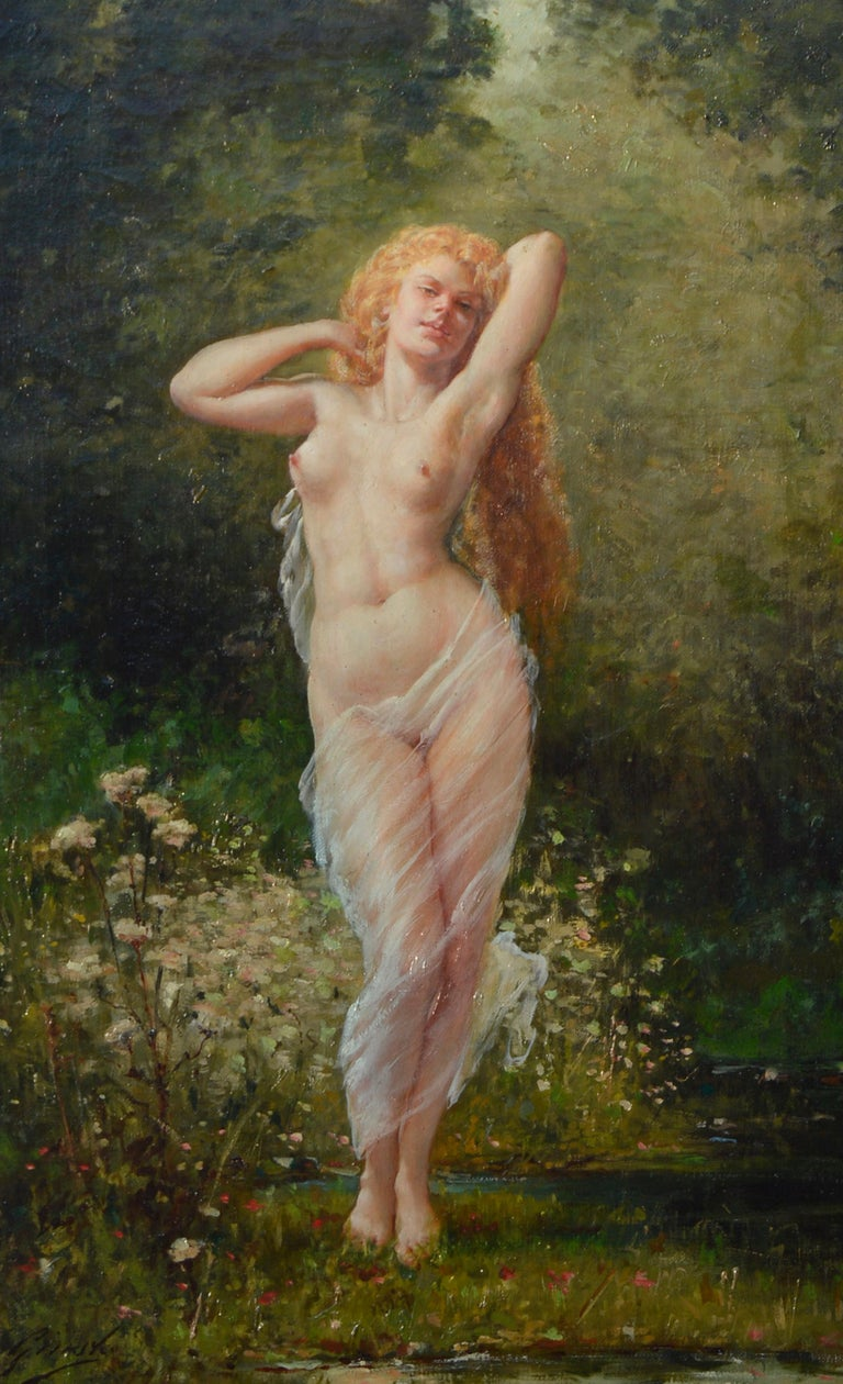 Barbizon painting of Nude Fausto Giusto Nom de guerre for Eugene Galien-Laloue - Brown Nude Painting by Fausto Giusto