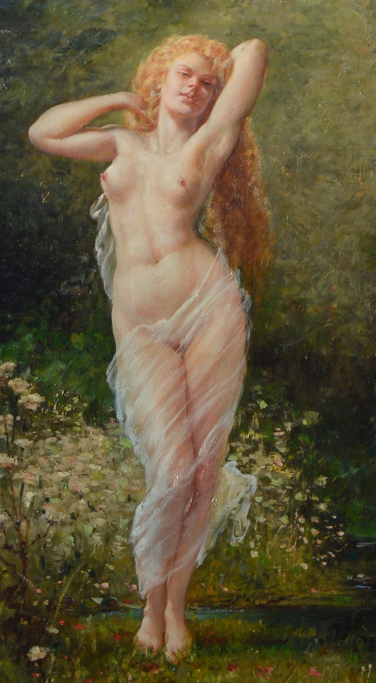 Fontainebleau forest and Nude in Spring. Oil on canvas signed F. Giusto.  Image size: 22.75