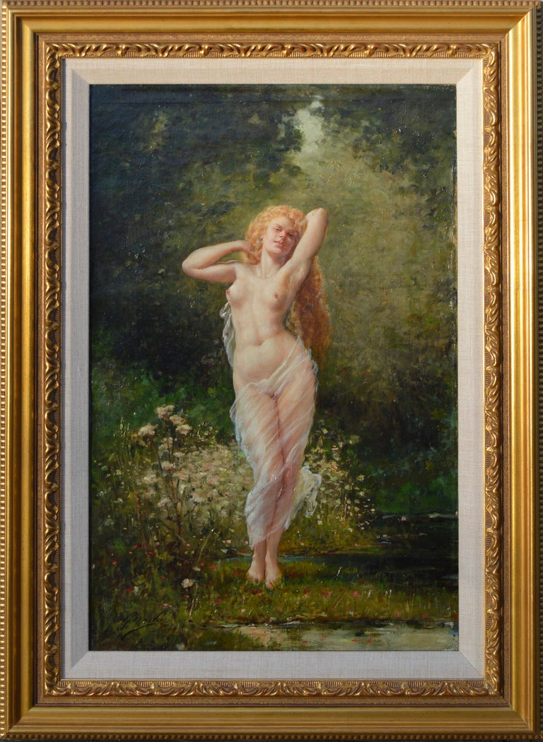 Barbizon painting of Nude Fausto Giusto Nom de guerre for Eugene Galien-Laloue - Painting by Fausto Giusto