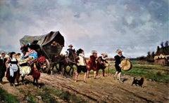 """The Parade"", Belle Epoque period landscape, figures, animals, oil on canvas"