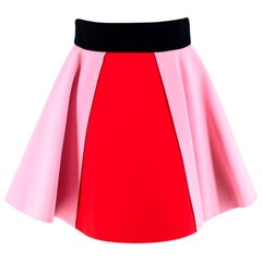 Fausto Puglisi Red & Pink Flared Mini Skirt - Size US 4