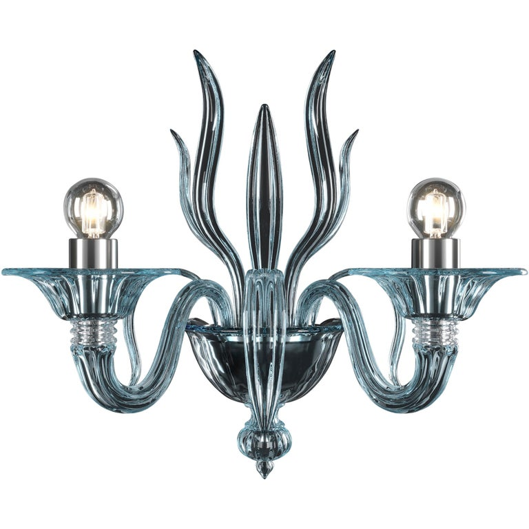 For Sale: Blue (Aquamarine_AQ) Fauve 5306 02 Wall Sconce in Glass, by Barovier&Toso