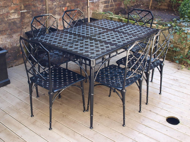 Mid 20th Century Faux Bamboo Patio Set From 1960s In The Style Of Brown