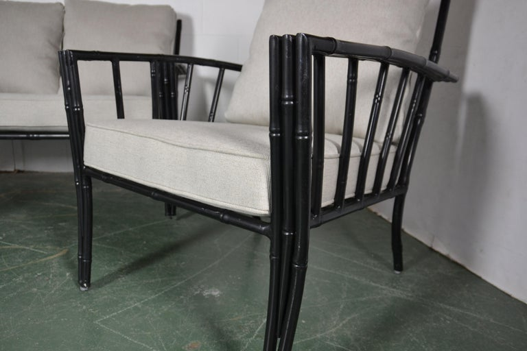 Faux-Bamboo Aluminum Sofa Set In Good Condition For Sale In Pasadena, CA