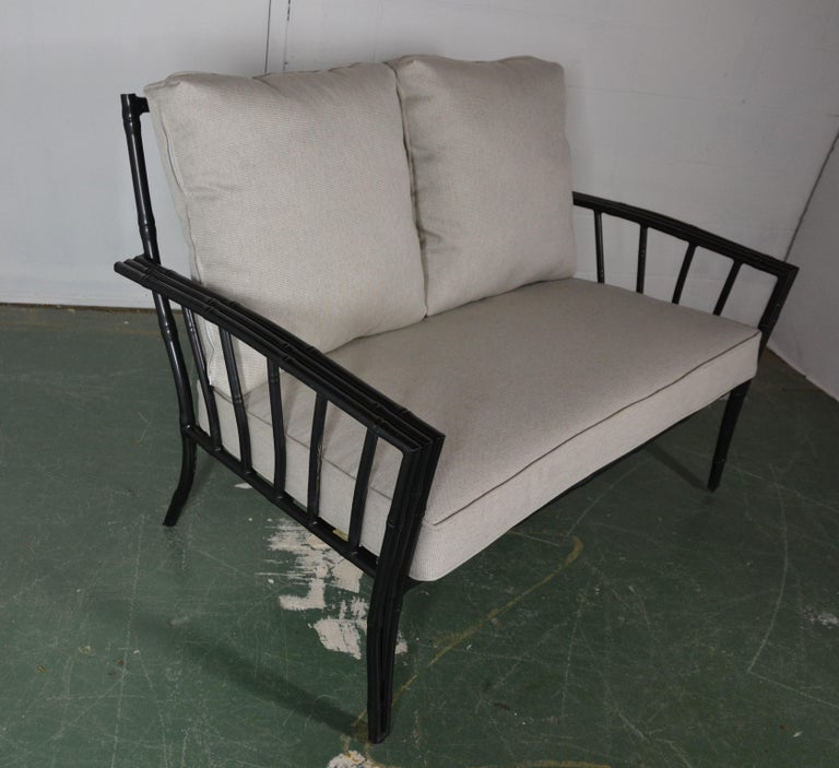 Late 20th Century Faux-Bamboo Aluminum Sofa Set For Sale