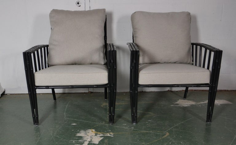 Faux-Bamboo Aluminum Sofa Set For Sale 3