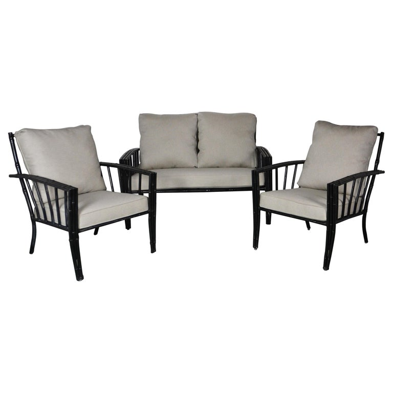 Faux-Bamboo Aluminum Sofa Set For Sale