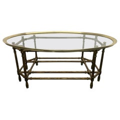 Faux Bamboo and Brass Coffee Table by Baker Furniture Company