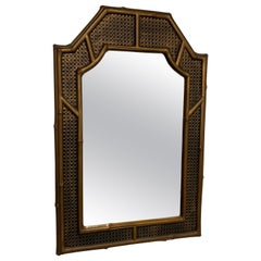 Faux Bamboo and Caining Mirror