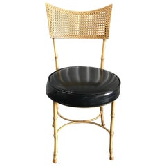 Faux Bamboo and Cane Aluminum Side Chair