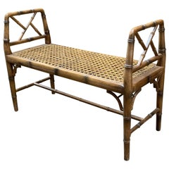 Faux Bamboo and Caned Bench