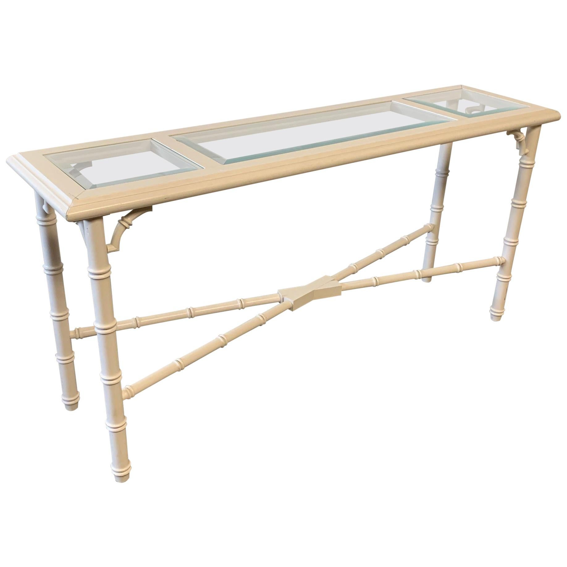 Faux Bamboo and Glass Console Table