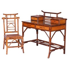 Faux Bamboo and Grasscloth Desk and Chair