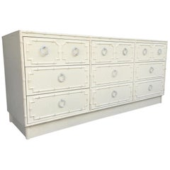 Faux Bamboo and Rattan Nine-Drawer Dresser by Omega