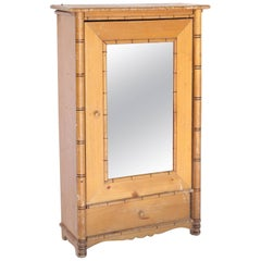 Faux Bamboo Antique Miniature Model Wardrobe or Armoire with Mirror Door