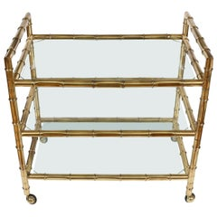 Faux Bamboo Bar Cart