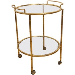 Faux Bamboo Bar Cart of Maison Jansen, Serving Trolley in Brass, France, 1970s