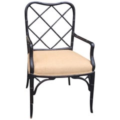 Faux Bamboo Black Painted Armchair, circa 1940s-1950s