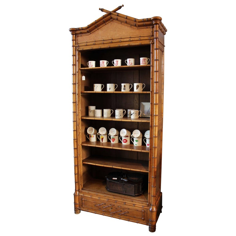 """""""faux-bamboo"""" French, Napolean III, Wooden, Bookcase, in Brown, Storage Cabinet For Sale"""