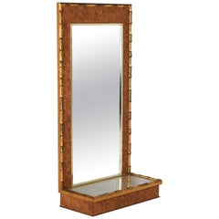 Faux Bamboo Brass and Cork Console Mirror, 1970s