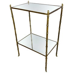 Faux Bamboo Brass and Mirror Side Table by Maison Bagues, France, 1950s