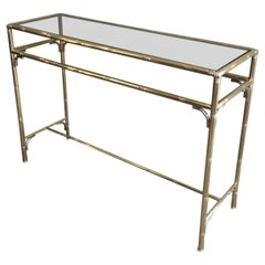 Faux-Bamboo Brass and Silvered Console Table with Smoked Glass