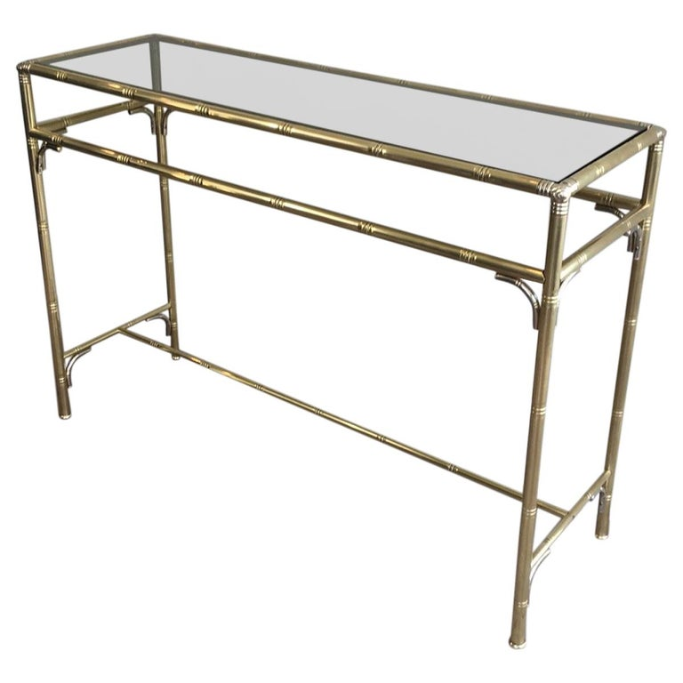 1stdibs Brass Smoked Glass French Console Table: Faux-Bamboo Brass And Silvered Console Table With Smoked