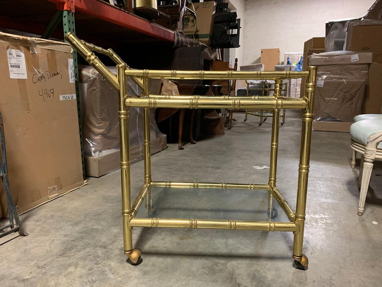 20th Century Faux Bamboo Brass Cart Attributed to Maison Baguès 1