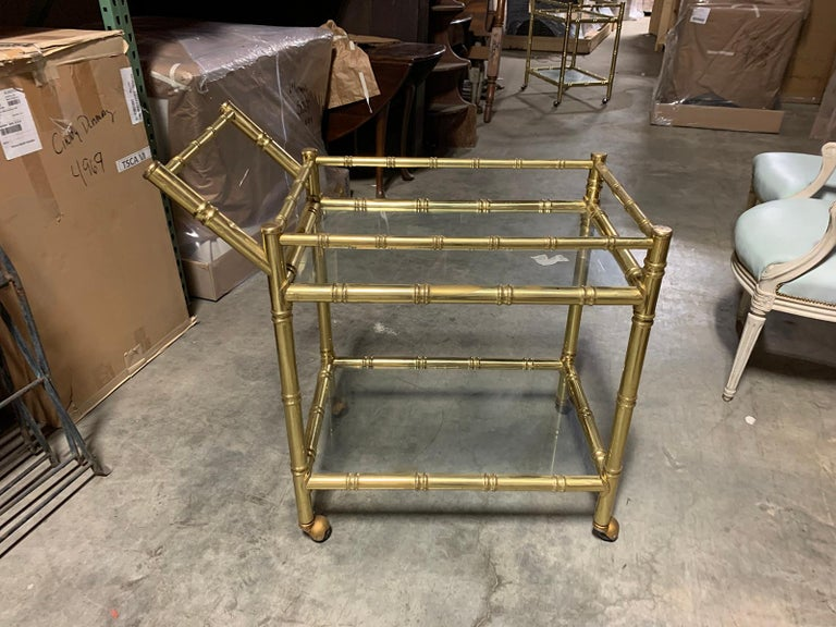 20th Century Faux Bamboo Brass Cart Attributed to Maison Baguès 10