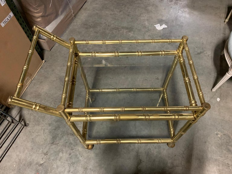 20th Century Faux Bamboo Brass Cart Attributed to Maison Baguès 3