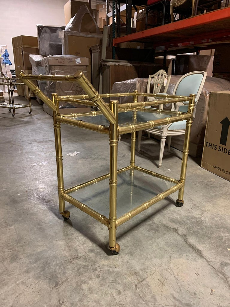 20th Century Faux Bamboo Brass Cart Attributed to Maison Baguès 11