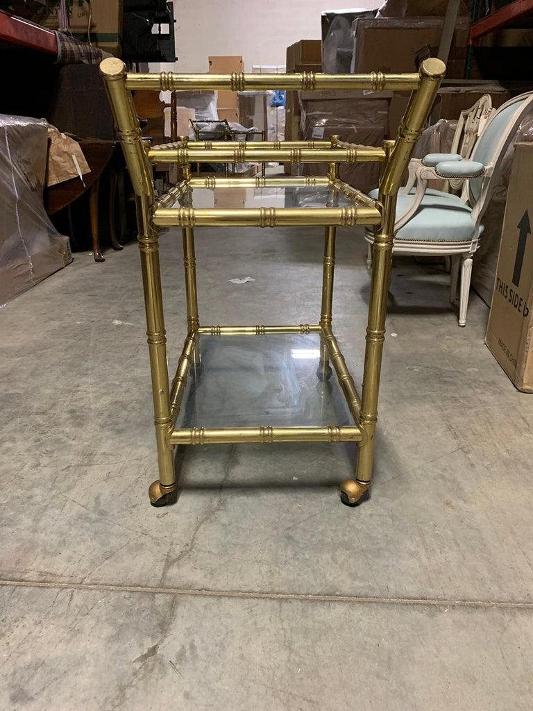 20th Century Faux Bamboo Brass Cart Attributed to Maison Baguès 12
