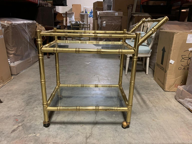 20th Century Faux Bamboo Brass Cart Attributed to Maison Baguès 13