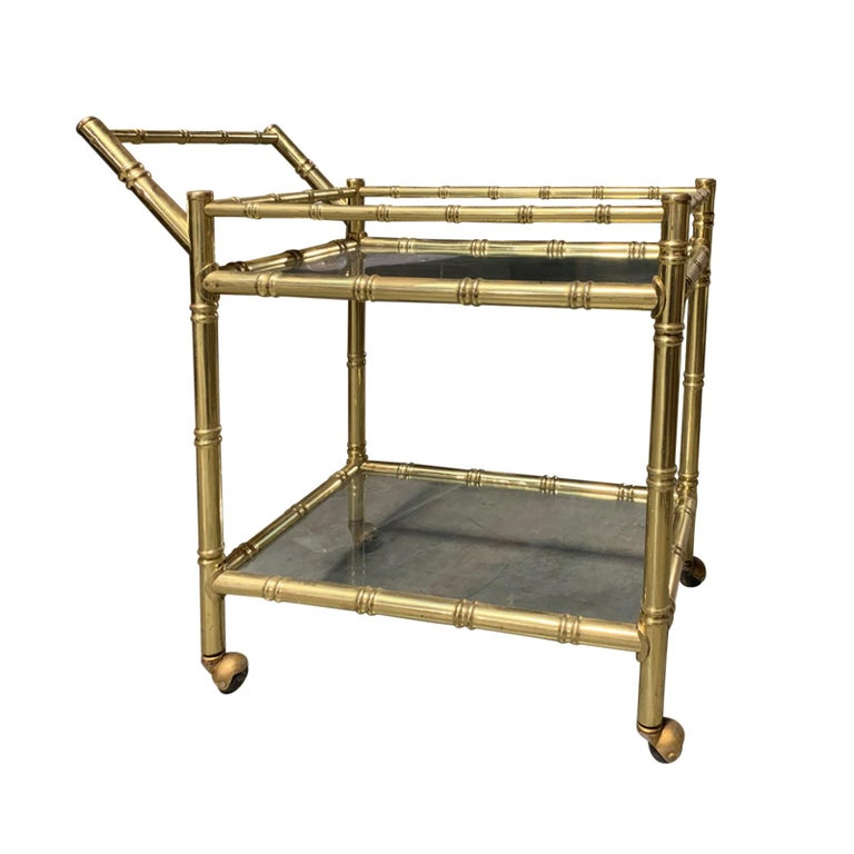 20th Century Faux Bamboo Brass Cart Attributed to Maison Baguès In Good Condition In Atlanta, GA