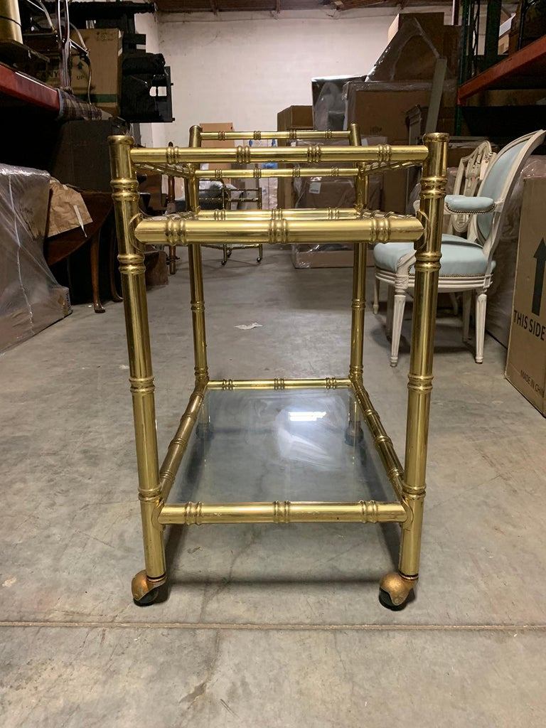 20th Century Faux Bamboo Brass Cart Attributed to Maison Baguès 2