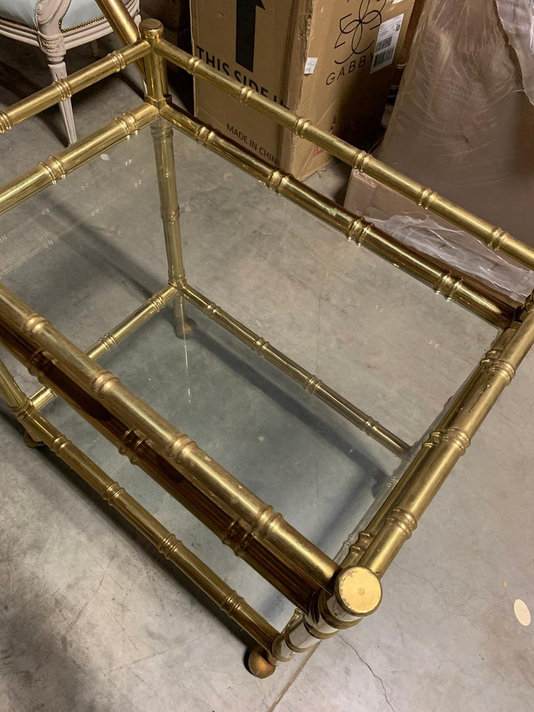 20th Century Faux Bamboo Brass Cart Attributed to Maison Baguès 4